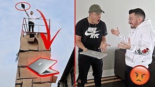 DESTROYING MY ROOMMATES MACBOOK PRANK!! (GONE WRONG)