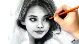 Drawing Young Girl - Charcoal Study #I-lost-count - Art Video