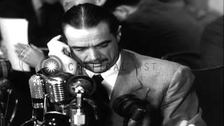 Howard Hughes testifies before a Senate Subcommittee investigating war contracts,...HD Stock Footage