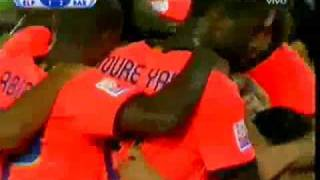 Homenaje a Leo Messi y Pep Guardiola. Final del Mundial de Clubes 2009