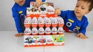 Fun for children with eggs surprises  - Twins with Kinder eggs and toys