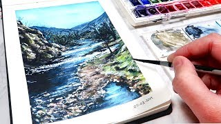 EASY Landscape Watercolor Painting for BEGINNERS