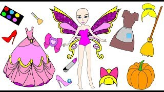 Cinderella Paper Doll turns into a fairy ballerina Princess and does make up - Homemade activities