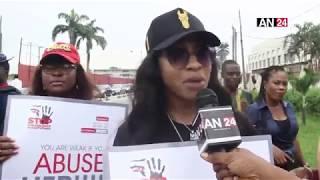 AGAIN, TONTO DIKEH BREAKS DOWN IN TEARS DURING WALK AGAINST DOMESTIC VIOLENCE IN LAGOS
