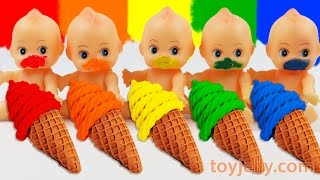 Learn Colors Play Doh Waffle Cone Sundae Ice Cream Paint Baby Doll Finger Family Song Nursery Rhymes