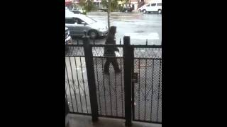 Guy gets beat up by stick