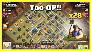 This ARMY is TOO OP! 28 MINERs+GOLEM | TH12 War Strategy #53 | COC 2018 |