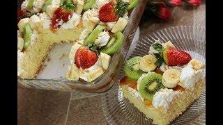 كيك الزبادي الهشة و الخفيفة بالكريمة والفواكه حلويات سهلة وبسيطة مع رباح محمد ( الحلقة 443 )