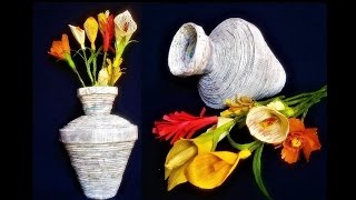 How to make a Flower Vase with Newspaper | Best Out Of Waste | DIY Flower Vase / Newspaper craft