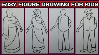 Easy human figure drawing for kids.// How to draw figure for kids. Tarun Art.