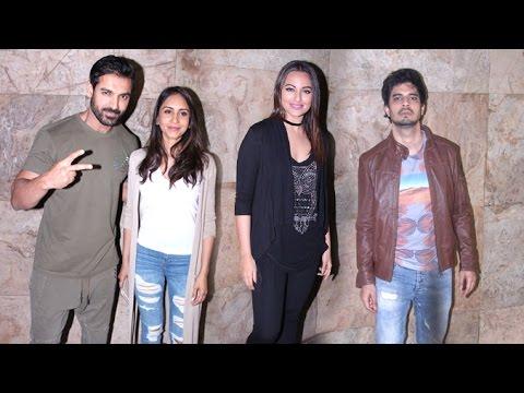 Force 2 Movie 2016 Screening - John Abraham With Wife Priya,Sonakshi Sinha,Tahir Raj Bhasin