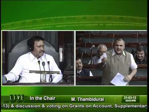 Sh. Devji Patel Member of Parliament  Lok Sabha , Jalore Sirohi   railway budget 21.032012.VOB
