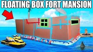24 HOUR BOX FORT BOAT MANSION CHALLENGE!! 📦💧SEADOO, GAMING ROOM, FIREPLACE & MORE!