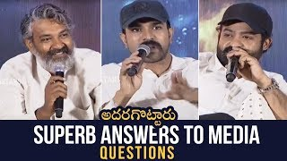 RRR Movie Team Superb And Hilarious Answers To Media Questions | Ram Charan | Rajamouli | Jr NTR