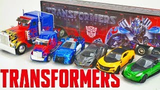 Transformers The Last Knight Optimus Prime Hauler and Diecast Flame Semi Truck Collection