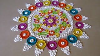 Beautiful and innovative multicolored  rangoli | Easy rangoli designs with colors by Poonam Borkar
