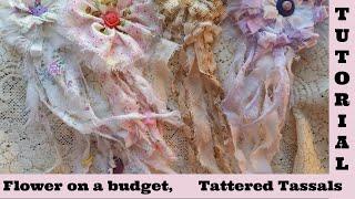 Diy 4, Tattered Flower Fabric Tassel, no sew, Shabby Chic flower fabric crafts, frugal craft, budget