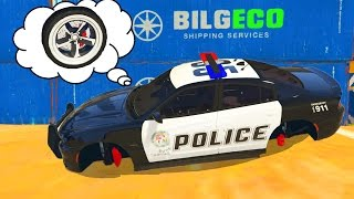 Police Car stuck in boxes with Lightning McQueen - Spiderman saves cars from trouble at the Railroad