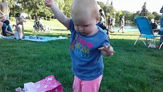 """Baby Alison demonstrates the """"Field Sobriety"""" test. LOL! - by Kevin Hunter"""