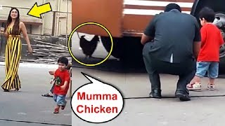 Taimur Ali Khan Playing With Chicken While Mom Kareena Kapoor Laughs
