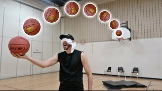 IMPOSSIBLE BLINDFOLDED BASKETBALL TRICK SHOTS