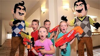 Nerf Battle:  Payback Time vs Twin Hello Neighbor Part 3 (Trinity and Beyond Saves the Day)