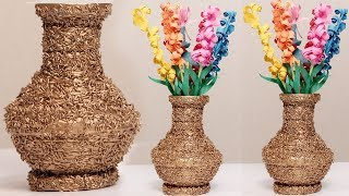 Amazing Diy Using Newspaper And Rice Make A Flower Vase - #diycrafts