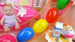 Surprise eggs slide Baby doll house and kinder joy, car toys play