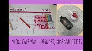 VLOG: FACE WASH, ERIN CONDREN DESK SET, ROSE SMOOTHIES| DR DRAY