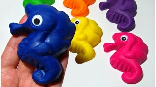 Play and Learn Colors with Play Doh Seahorses and Vehicle Cookie Cutters Fun Videos For Children