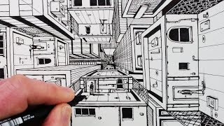 How To Draw 1-Point Perspective: Draw 3D Buildings