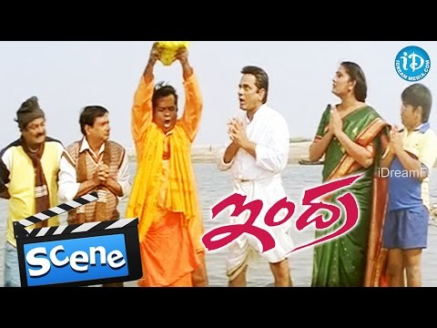 Indra Movie Scenes - Brahmanandam And MS Narayana Robbing AVS's Wife Jewellery || B Gopal