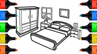 How to Draw Bedroom Coloring Pages for Kids | Learn Colors Drawing and Coloring for Children