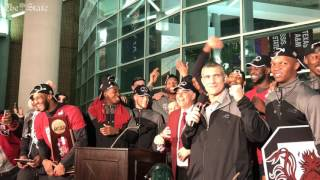 Gamecocks return home after their NCAA win over Florida.