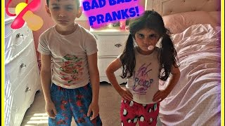 Bad Baby Brother Steals sisters make up and draws on her! Sister Slimes Brother!