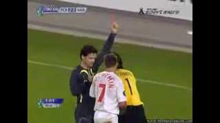 Goalkeeper gets a red card , player saves the penalty !