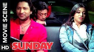Arshad Warsi and Irrfan Khan give lift to drunk Ayesha Takia | Sunday | Movie Scene | Comedy
