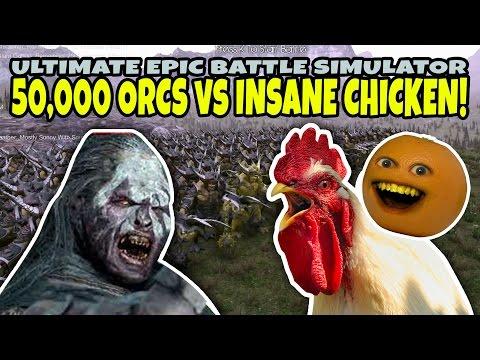 50 000 ORCS vs INSANE CHICKEN Annoying Orange Ultimate Epic Battle Simulator