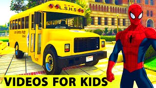 Download Color SCHOOL BUS SPIDERMAN Cartoon for Kids and FUNNY CARS /with Nursery Rhymes and Children's Songs 3Gp Mp4