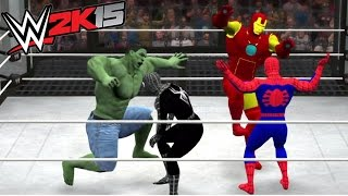 WWE 2K15 - HULK VS BATMAN VS SPIDER MAN VS VENOM VS THOR VS IRON MAN - ELIMINATION CHAMBER MATCH