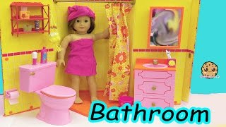 American Girl Doll Bathroom - Shower, Pink Toilet, Brush Teeth, Surprise Blind Bags