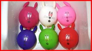 Learn Colors with Rabbit Ballon Popping Ballons Finger Family Song Color Pong Song