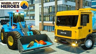 Water Tank Aiden & Sergeant Lucas the Police Car Saving Fishes - Wheel City Heroes Cartoon