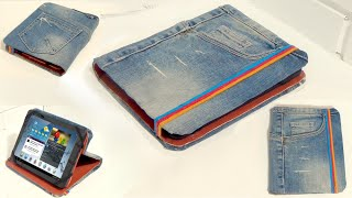 Recycle your old jeans. How to make a tablet case with old jeans.