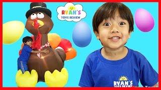 HUGE SURPRISE EGGS OPENING THANKSGIVING TURKEY Disney Toys Mr Potato Head Spiderman Mickey Mouse
