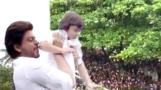 INSIDE Video Shahrukh Khan's Son Abram Khan Wishing Eid Mubarak To FANS Outside Mannat