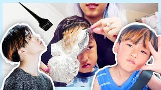 Dyeing My Son's Hair With Only 10 Min Of Bleach (omg It's Baby Jimin)