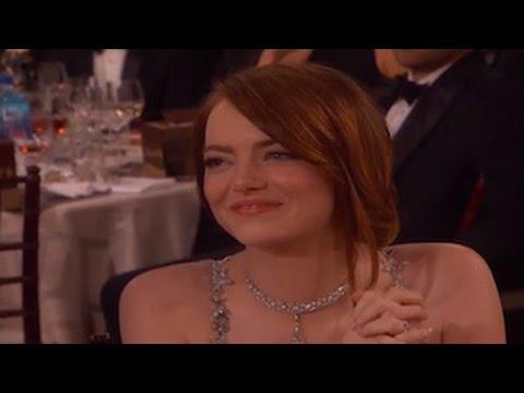 Emma Stone Cries While Ryan Gosling Wins A Golden Globe For 'La La Land'
