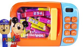 Learning Colors With Paw Patrol & Disney Mickey Mouse PEZ Candy Microwave Surprise Toys