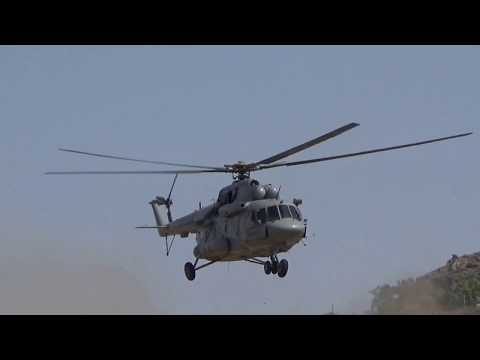 Indian armed forces rescuing over fire at mount abu rajasthan forest area
